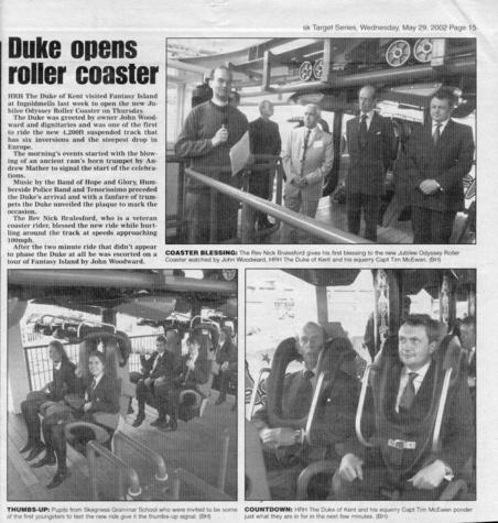 Newspaper cutting about the opening day of Jubilee Odyssey.