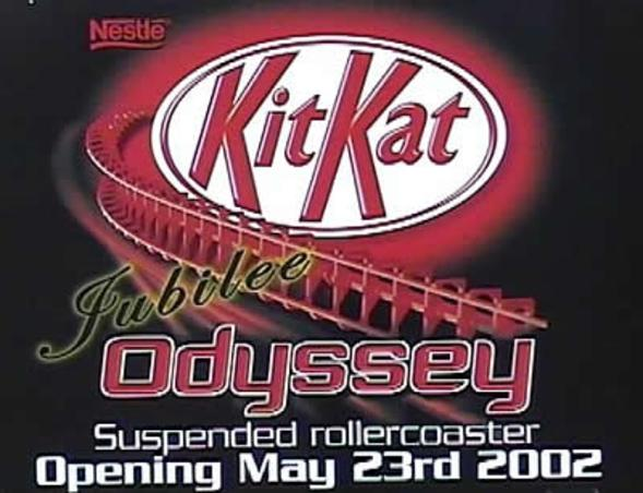 Promotional material featuring the logo and KitKat sponsorship for Jubilee Odyssey.