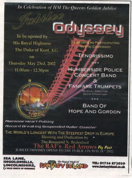 Promotional flyer for the opening day of Jubilee Odyssey at Fantasy Island.
