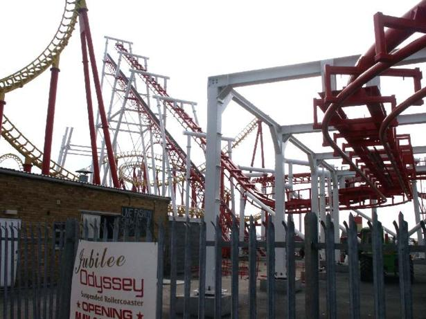 Work begins on the lift hill.