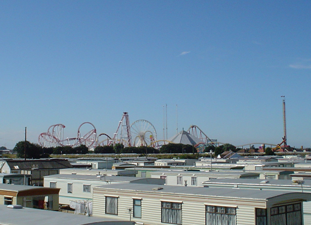 A view of Fantasy Island from holiday resort - Butlins.