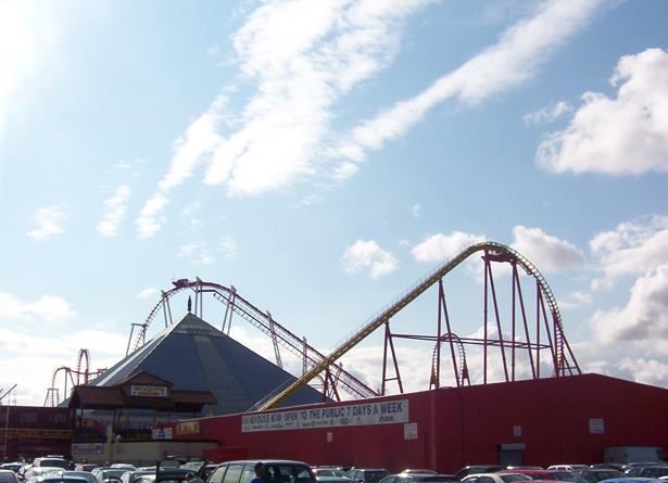 Both of the big coasters in 2003 with the pyramid.